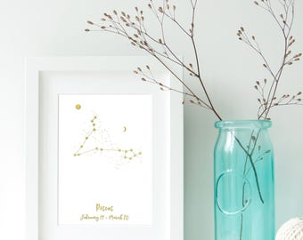 Pisces Zodiac Constellation, Astrology, Star Signs, Horoscope. Real Foil Print. Home Decor. Homemade Gift. Love. Quote. Personalised,