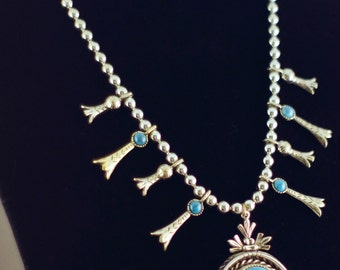 Signed ART ModeArt Mode-Art Vintage Jewelry Set Turquoise Earring and Neckace