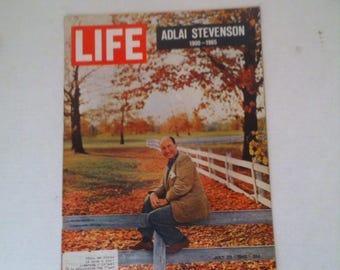 Vintage Life Magazine, July 1965, Adlai Stevenson, Shelf Display, Home Decor, Table Display, Fun Ads, Nostalgia Fun, 13 x 10