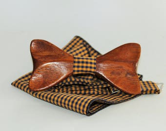 Mens wooden bow tie with pocket square. Wood weeding bowtie.