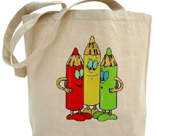 Children's Tote - Crayons - Cotton Canvas Tote Bag - Gift Bags