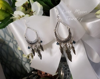 Silver feather and Swarovski bicone crystal chandelier earrings