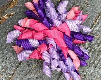 Hair Clip Korker Ribbon Headband Bow Pink Purple