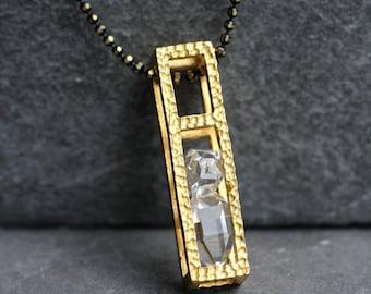 Herkimer Diamond Block Cage Necklace