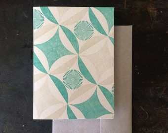 Robbing Peter Letterpress Notecard - Green & Tan