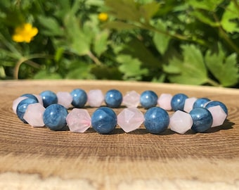 Aquamarine Rose Quartz Bracelet, Celestial Jewelry, Mindfulness Gift For Her, Boho Jewellery, Stackable Bracelets, Summer Statement Jewelry