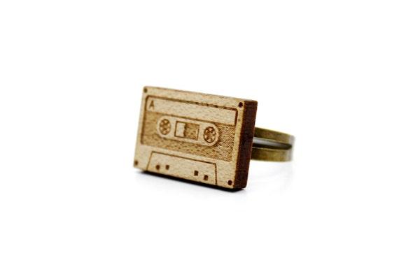 Audio tape ring - lasercut maple wood - graphic laser jewelry - music accessory - retro - vintage - 80's - 90's - OSFA - adjustable