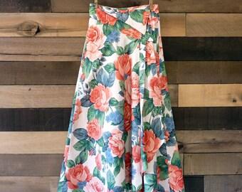 Vintage Floral Skirt 1990s Rose Print Cotton Asymmetrical Waist XXS by Ashley Jordan