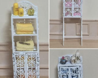 1:12 Scale Dollhouse Miniature White Wire Bathroom Etagere with Accessories (Etageres sold seperately)