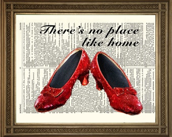 """DOROTHY RUBY SLIPPERS: Dictionary Art Print, Wizard of Oz (8 x 10"""")"""