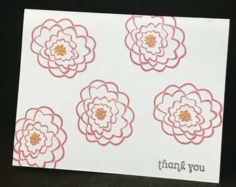 Thank you card, Cardstock, Red and Gold Flowers, Floral, Blank, Hand Stamped