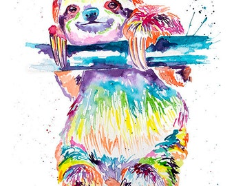 Colorful Sloth Art Print, Sloth Art, Sloth Watercolor, Watercolor Sloth, Slothlove. Sloth Gift