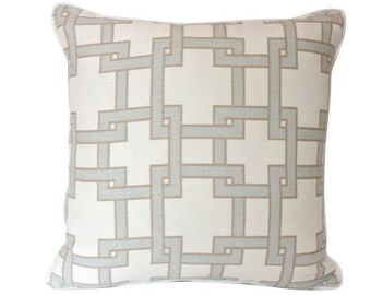 City Square by Thom Filicia for Kravet-- Pillow Cover in Light Blue, Tan and Ivory  with Ivory Piping