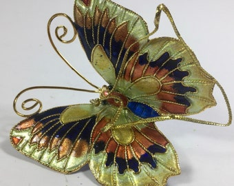 ON SALE Butterfly Cloisonne Ornament Multi Colored Gold Figurine Vintage Mint