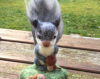 Squirrel Soft Sculpture, wool needle felted animal, creature ornament, home decor - SamBee