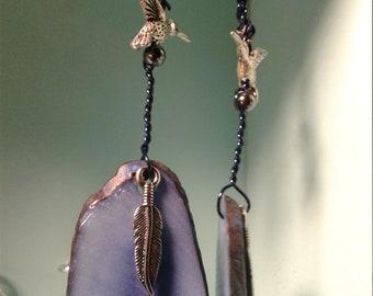 Feather & Hummingbird Earrings