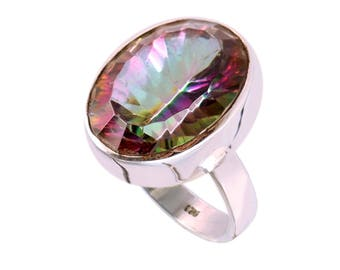 Mystic quartz 92.5 sterling silver ring size 6 us