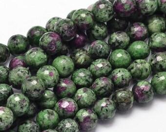 "Ruby Zoisite, Natural Anyolite Gemstone round beads 8mm, 10mm, Jewelry Making Beading supplies 15.5"" Full Strand Loose Round Beads"