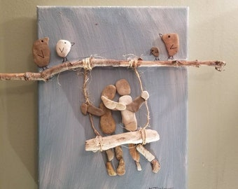 """How Tweet"""" 8x10 canvas pebble art with Tennessee river driftwood."""