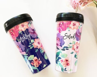 Floral Travel Mug Floral Coffee Mug Personalized Travel Mug Bridesmaid Coffee Mug Travel Mug Coffee Tumbler Coffee Cup Gifts  (EB3135FL)