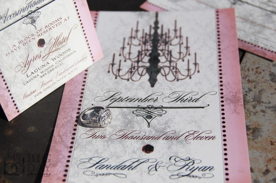 Chandelier Wedding Invitations: Antique Gala Chandelier Wedding Invitation. Antique Chandelier