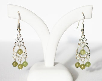 Silver chandelier earrings with aventurine beads
