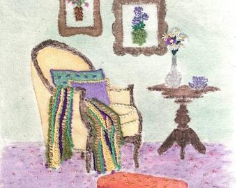 The Chair, Embroidery on Print, Print, Wall Art, Interiors, Art Prints, Housewarming Gift, Fibre Art, Mixed Media