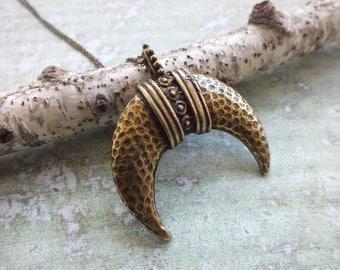 Moon Pendant Necklace Antique Bronze Horn Long Necklace Extra Long Necklace Boho Necklace Long Statement Necklace