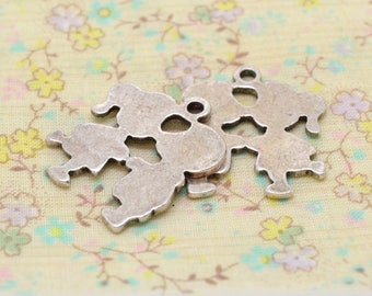loving couple, kissing kids, silver-plated 2 charms, 19mm / 23mm