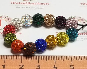 10 pcs per pack in color to choose 8mm 1mm hole Polymer Clay Shambala Round beads with 1.5mm flat back Crystal.