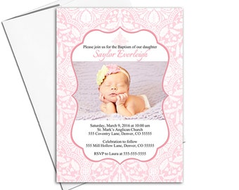 baby girl Baptism invitations pink | printable or printed cards | Christening invitation girl - WLP00252