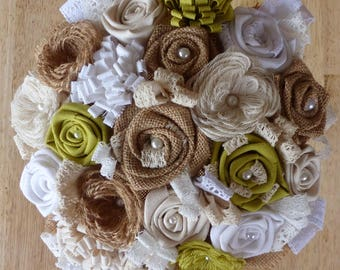 Bridal bouquet in fabric with fabric flowers, burlap and lace