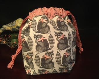 Drawstring Knitting Project Bag with inner zippered pocket, Raccoons with pink ribbon