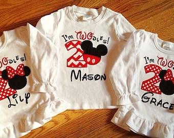 Minnie or Mickey Birthday Shirt