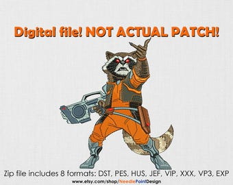 INSTANT DOWNLOAD - Raccoon machine embroidery design. Superhero. Embroidery file