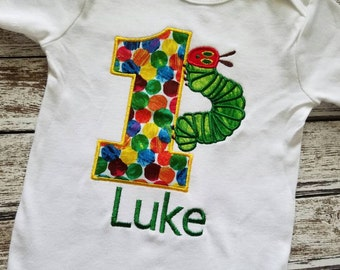 Colorful caterpillar birthday shirt