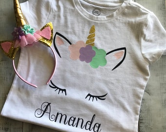 Unicorn shirt and headband