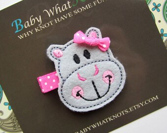Baby Girl Hippo Hair Clip, Hippopotamus Hair Clippies, Girl Barrette, hchippo01