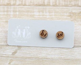 Wood Mother Duck and Ducklings - Laser Cut Stud Earrings - Wood earrings - wooden earrings - Duck earrings