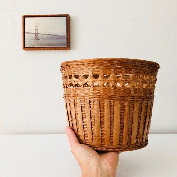 Vintage Wicker Basket Decorative Woven Rattan Plant Basket Storage Basket Boho Decor