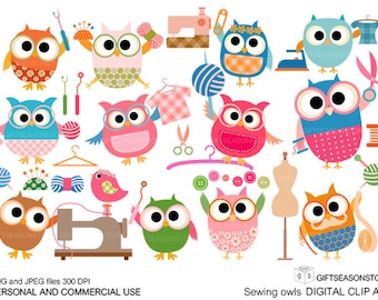 Sewing owl digital clip art for Personal and Commercial use - INSTANT DOWNLOAD