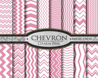 Charm Pink Digital Chevron Paper Pack - Instant Download - Printable Paper with Chevron Pattern for Digital Scrapbooking