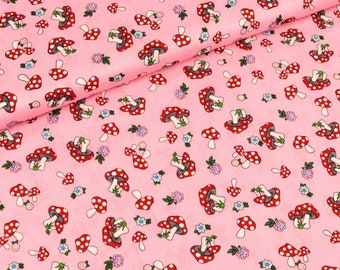Cotton fabric mushrooms and flowers on pink (8.50 EUR/meter)