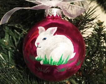 Personalized Hand Painted White Rabbit Christmas Ornament