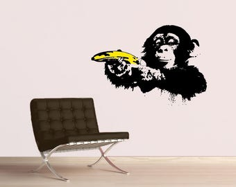Urban wall art etsy banksy monkey with warhol banana wall decal popart sticker street art urban gumiabroncs Images