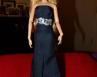 Navy blue two piece formal dress with attached silver brocade belt for Fashion Dolls - ed1072