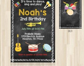 Music Birthday Invitation, Music Party, Music Party Invitation, Musical Instruments Party, Kids Music Jam, *DIGITAL OR PRINT*