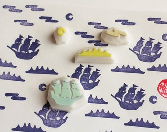 pirate sailing ship rubber stamps   vessel ocean moon   diy fairytale holiday crafts   card making   hand carved by talktothesun   set of 4