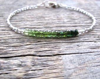 Green Tourmaline Bracelet, Smoky Topaz Bracelet, October Birthstone Bracelet, November Birthstone, Bead Stack Bracelet, Tourmaline Gemstone