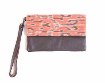 Indonesian Ikat Leather Clutch - Caramel Brown (Natural Dye)